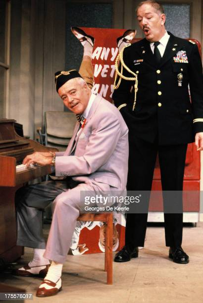 Actors Michael Gambon and Jack Lemmon perform in Donald Freed's stage play 'Veterans Day' at Theatre Royal on August 17 1989 in London England