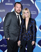 Actors Michael Gladis and Beth Behrs attend the 2nd Annual unite4humanity presented by ALCATEL ONETOUCH at the Beverly Hilton Hotel on February 19...