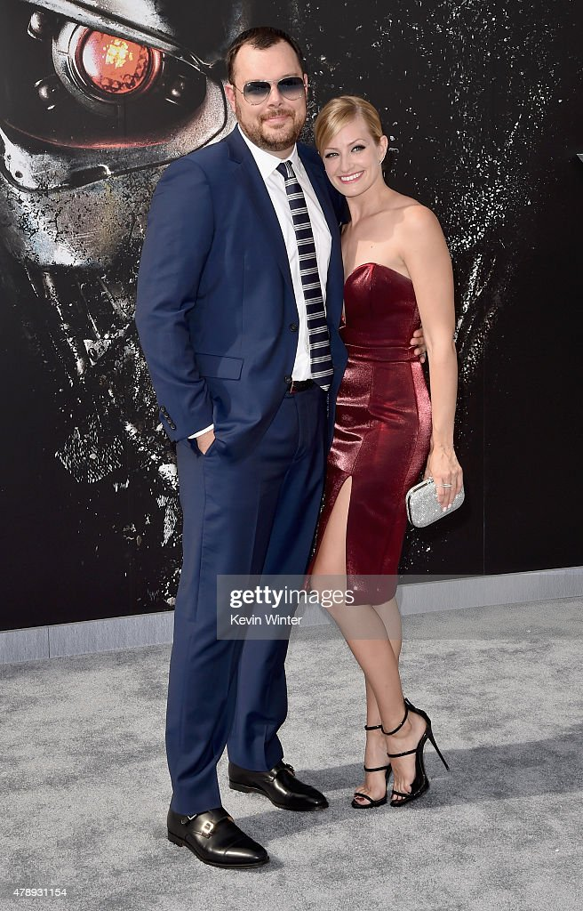 Actors Michael Gladis (L) and Beth Behrs attend the LA Premiere of Paramount Pictures' 'Terminator Genisys' at the Dolby Theatre on June 28, 2015 in Hollywood, California.