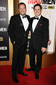 Actors Michael Gladis and Rich Sommer attend the 'Mad Men' Black Red Ball at Dorothy Chandler Pavilion on March 25 2015 in Los Angeles California