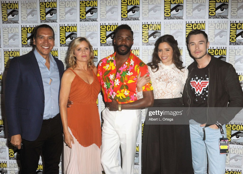 Actors Michael Greyeyes, Kim Dickens, Colman Domingo, Mercedes Mason, and Sam Underwood attend Comic-Con International 2017 AMC's 'Fear The Walking Dead' Panel at San Diego Convention Center on July 21, 2017 in San Diego, California.