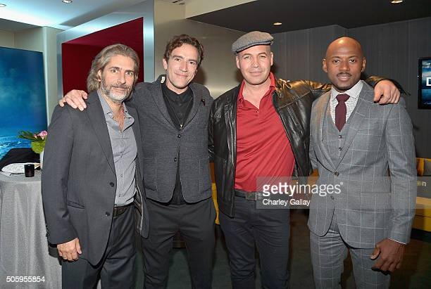 Actors Michael Imperioli Ben Chaplin Billy Zane and Romany Malco attend the red carpet premiere screening of Amazon original series 'Mad Dogs' at...