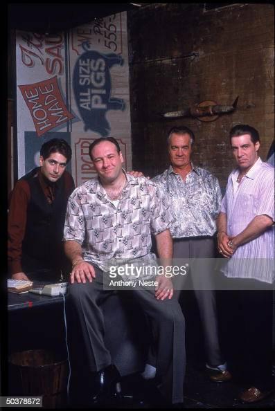 Actors Michael Imperioli Jmaes Gandolfini Tony Siroco Steve Van Zandt in scene from HBO cable TV series The Sopranos