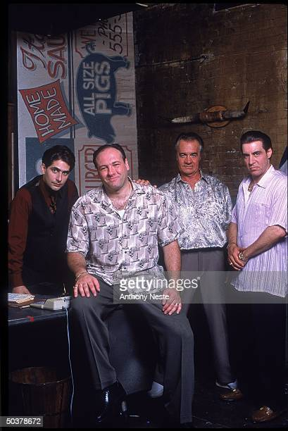 Actors Michael Imperioli Jmaes Gandolfini Tony Siroco Steve Van Zandt in scene from HBO cable TV series The Sopranos