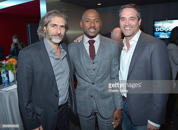 Actors Michael Imperioli Romany Malco and Head of Drama Series at Amazon Studios Morgan Wandell attend the red carpet premiere screening of Amazon...