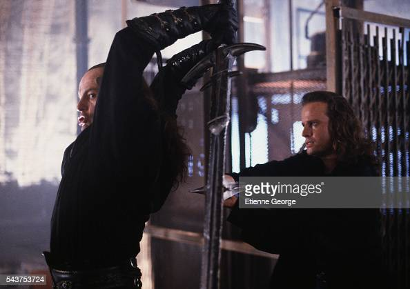 Actors Michael Ironside and Christopher Lambert on the set of 'Highlander II The Quickening' directed by Russell Mulcahy