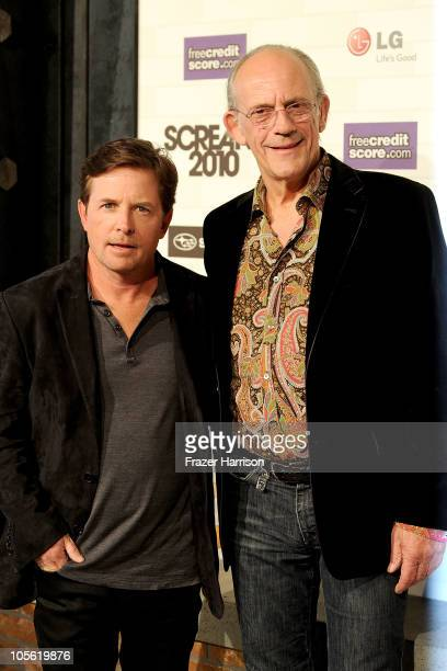 Actors Michael J Fox and Christopher Lloyd arrive at Spike TV's 'Scream 2010' at The Greek Theatre on October 16 2010 in Los Angeles California