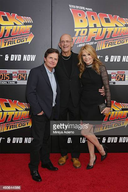 Actors Michael J Fox Christopher Lloyd and Lea Thompson attend 'Back To The Future' New York Special Anniversary screening at AMC Loews Lincoln...