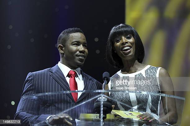 Actors Michael Jai White and Tasha Smith onstage during the 10th Annual Ford Hoodie Awards at the MGM Grand Garden Arena on August 4 2012 in Las...