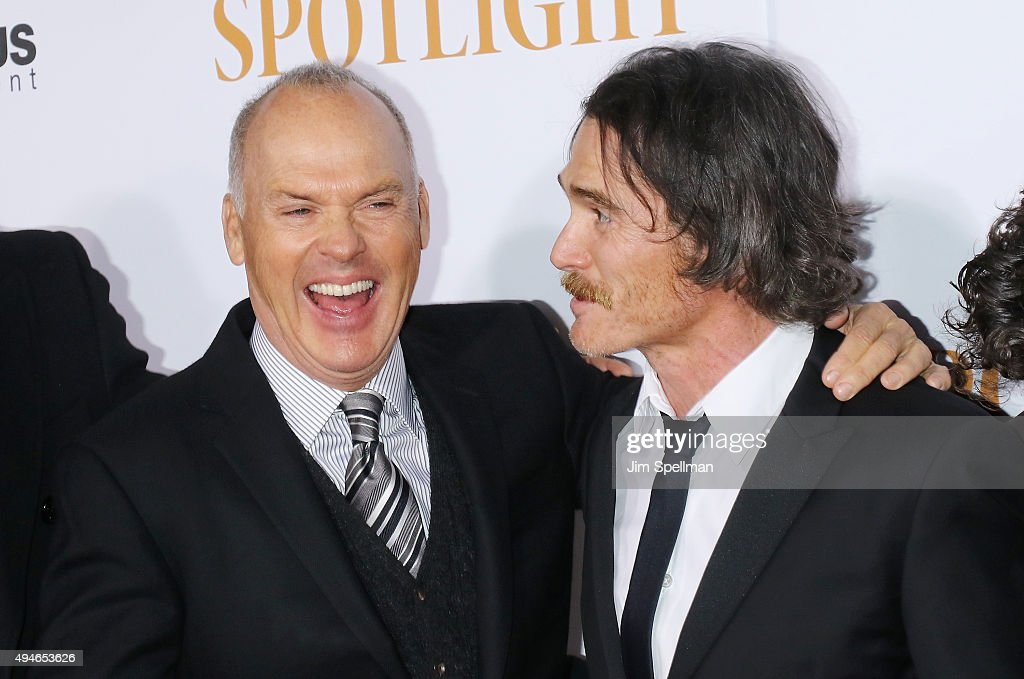 Actors Michael Keaton and Billy Crudup attend the 'Spotlight' New York premiere at Ziegfeld Theater on October 27, 2015 in New York City.