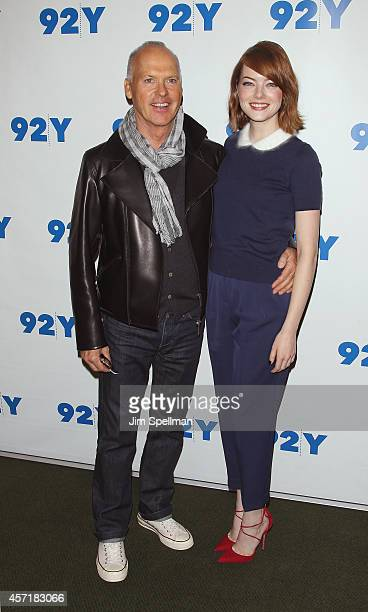 Actors Michael Keaton and Emma Stone attend the 92nd Street Y Film Series 'Birdman Or The Unexpected Virtue Of Ignorance'at 92nd Street Y on October...