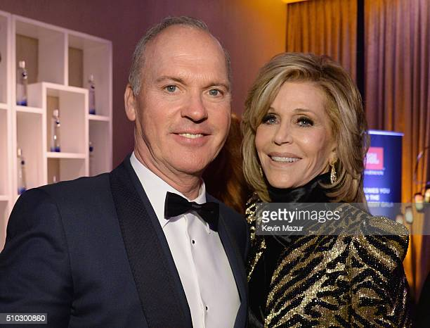 Actors Michael Keaton and Jane Fonda attend the 2016 PreGRAMMY Gala and Salute to Industry Icons honoring Irving Azoff at The Beverly Hilton Hotel on...