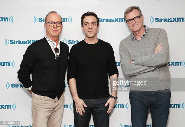 Actors Michael Keaton BJ Novak and Director John Lee Hancock attend the SiriusXM's Town Hall with the cast of 'The Founder' hosted by EW's Jess Cagle...