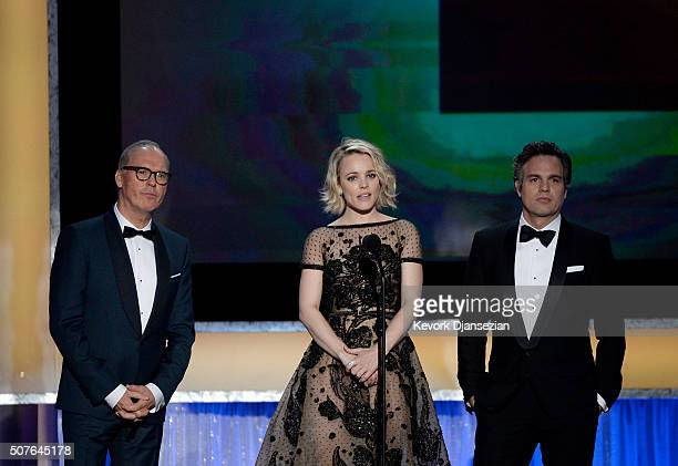 Actors Michael Keaton Rachel McAdams and Mark Ruffalo speak onstage during the 22nd Annual Screen Actors Guild Awards at The Shrine Auditorium on...