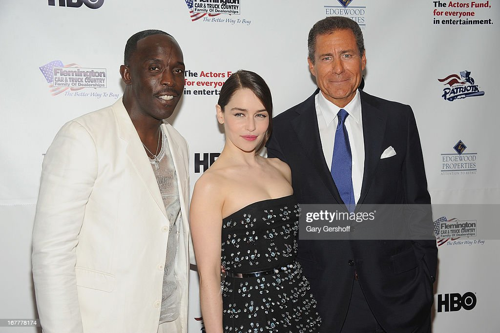 Actors Michael Kenneth Williams and Emilia Clarke, and HBO CEO Richard Plepler attend the 2013 Actors Fund Gala at the Marriott Marquis Hotel on April 29, 2013 in New York City.