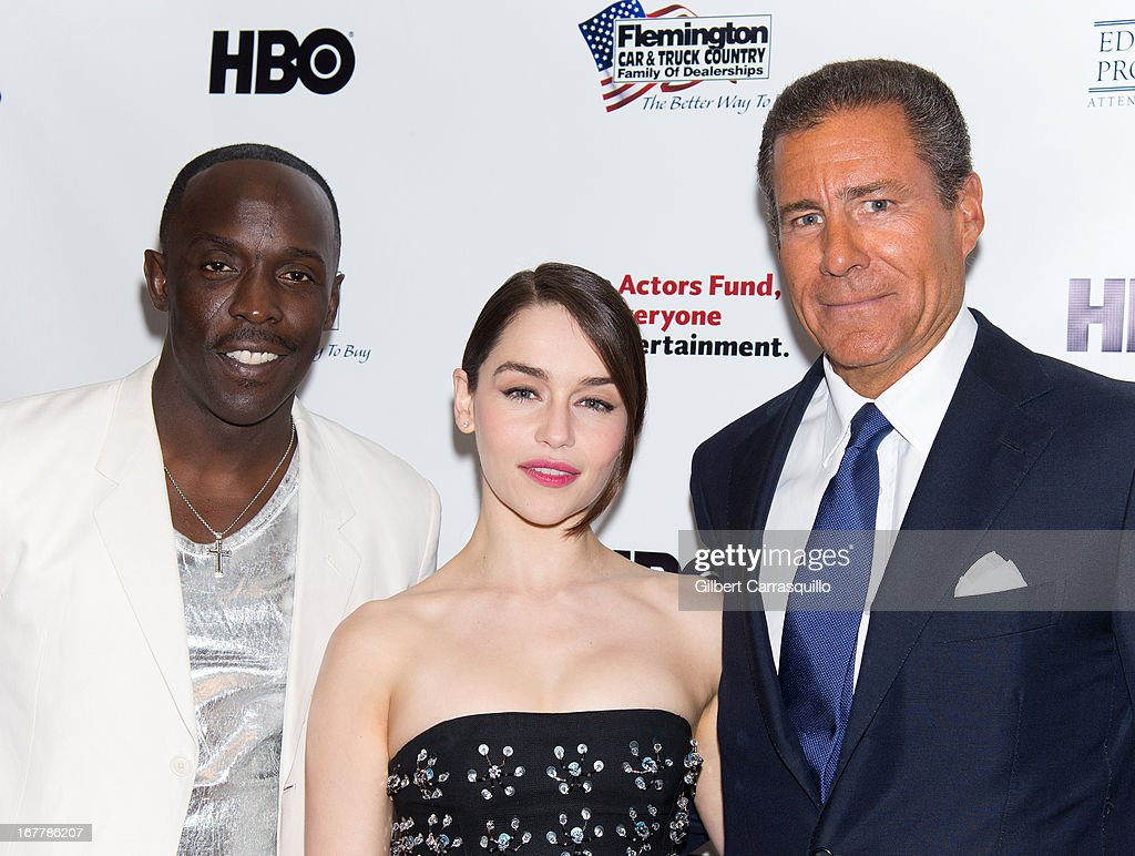Actors Michael Kenneth Williams and Emilia Clarke pose with HBO CEO Richard Plepler at the 2013 Actors Fund's Annual Gala Honoring Robert De Niro at The New York Marriott Marquis on April 29, 2013 in New York City.
