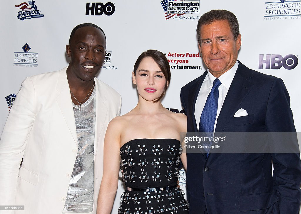 Actors Michael Kenneth Williams and <a gi-track='captionPersonalityLinkClicked' href=/galleries/search?phrase=Emilia+Clarke&family=editorial&specificpeople=7426687 ng-click='$event.stopPropagation()'>Emilia Clarke</a> pose with HBO CEO <a gi-track='captionPersonalityLinkClicked' href=/galleries/search?phrase=Richard+Plepler&family=editorial&specificpeople=584118 ng-click='$event.stopPropagation()'>Richard Plepler</a> at the 2013 Actors Fund's Annual Gala Honoring Robert De Niro at The New York Marriott Marquis on April 29, 2013 in New York City.
