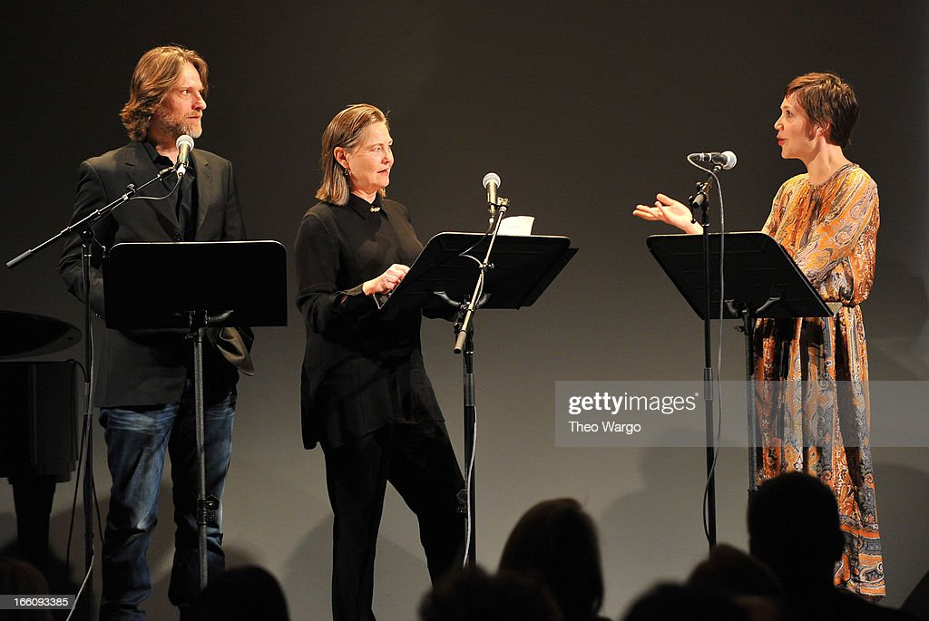 Actors Michael Laurence, Cherry Jones and Maggie Gyllenhaal perform onstage at the Celebrate Sundance Institute benefit for its Theatre Program, supported by CÎROC Vodka at the Stephen Weiss Studio on April 8, 2013 in New York City.