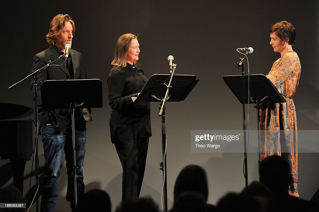 Actors Michael Laurence, <a gi-track='captionPersonalityLinkClicked' href=/galleries/search?phrase=Cherry+Jones&family=editorial&specificpeople=206500 ng-click='$event.stopPropagation()'>Cherry Jones</a> and <a gi-track='captionPersonalityLinkClicked' href=/galleries/search?phrase=Maggie+Gyllenhaal&family=editorial&specificpeople=202607 ng-click='$event.stopPropagation()'>Maggie Gyllenhaal</a> perform onstage at the Celebrate Sundance Institute benefit for its Theatre Program, supported by CÎROC Vodka at the Stephen Weiss Studio on April 8, 2013 in New York City.