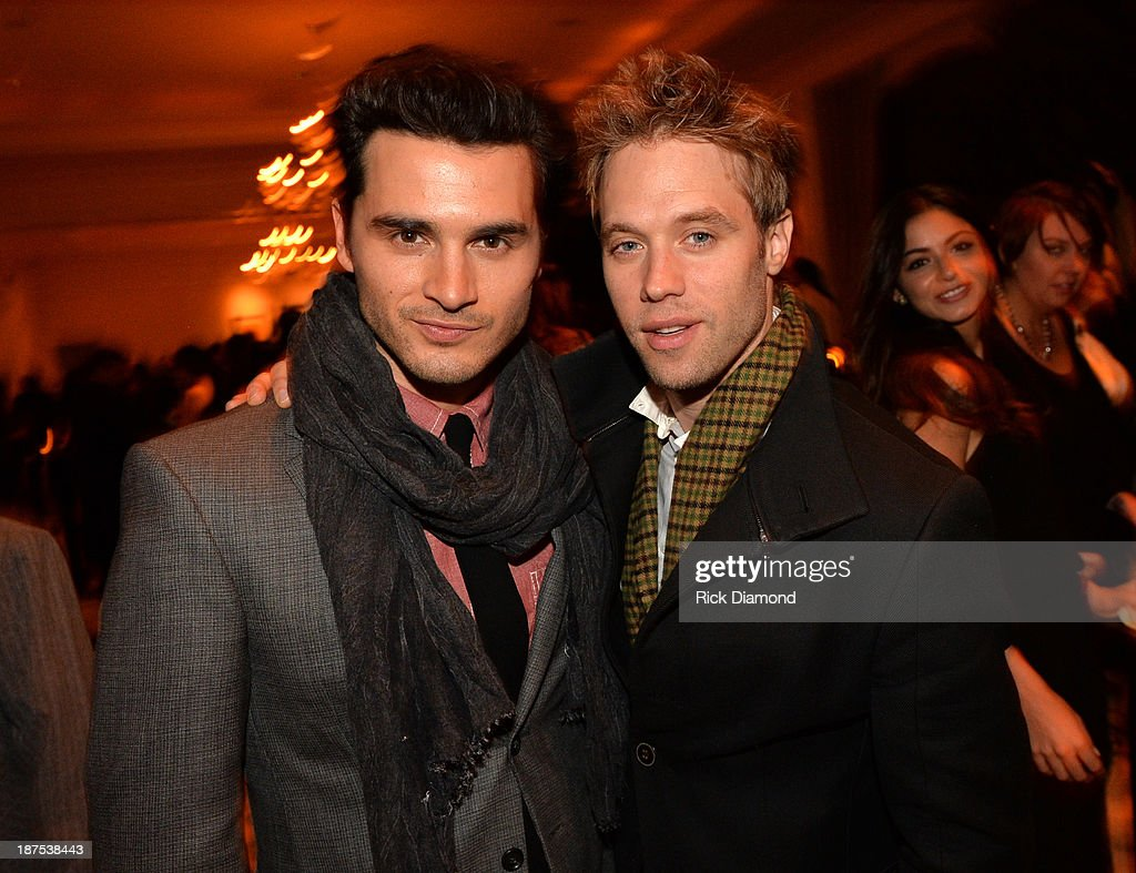 Actors Michael Malarkey and <a gi-track='captionPersonalityLinkClicked' href=/galleries/search?phrase=Shaun+Sipos&family=editorial&specificpeople=660503 ng-click='$event.stopPropagation()'>Shaun Sipos</a> attend The Vampire Diaries 100th Episode Celebration on November 9, 2013 in Atlanta, Georgia.