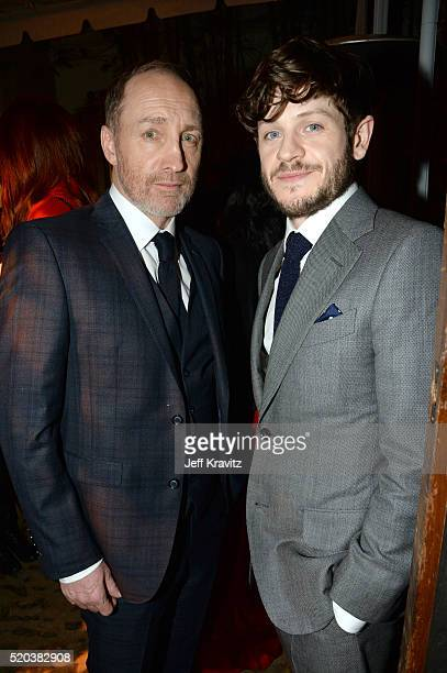 Actors Michael McElhatton and Iwan Rheon attend the after party at the premiere for the sixth season of HBO's 'Game Of Thrones' at TCL Chinese...