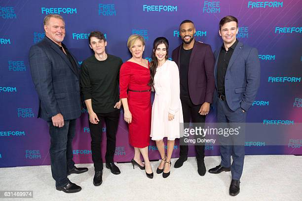 Actors Michael McGRady Jonthan Whitesell Romy Rosemont Dilan Gwyn Jeff Pierre and Burkely Duffield arrive for the 2017 Winter TCA Tour for Disney/ABC...
