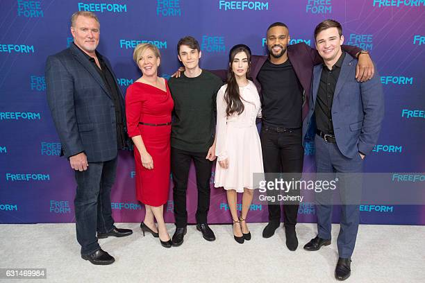 Actors Michael McGRady Jonthan Whitesell Rosy Rosemont Dilan Gwyn Jeff Pierre and Burkely Duffield arrive for the 2017 Winter TCA Tour for Disney/ABC...