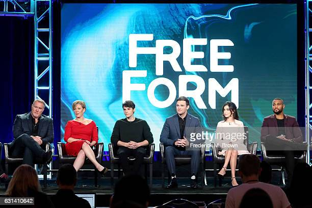 Actors Michael McGrady Romy Rosemont Jonathan Whitesell Burkely Duffield Dilan Gwyn and Jeff Pierre of the television show 'Beyond' speak onstage...