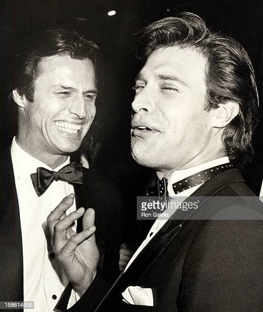 Actors Michael Nader and John James attending 10th Annual People's Choice Awards on March 15 1984 at the Santa Monica Civic Auditorium in Santa...