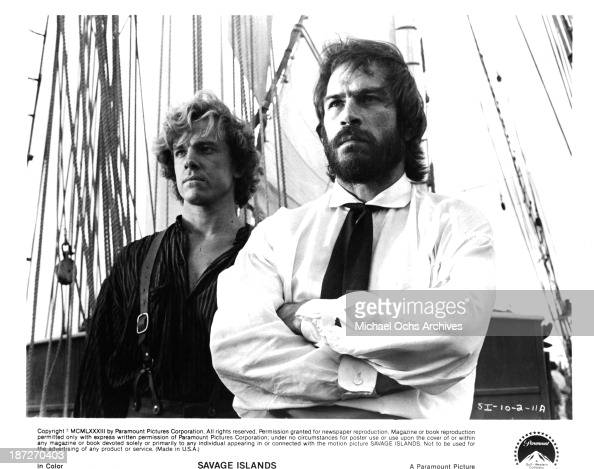 Actors Michael O'Keefe and Tommy Lee Jones on set of the Paramount Pictures movie 'Savage Islands' in 1983