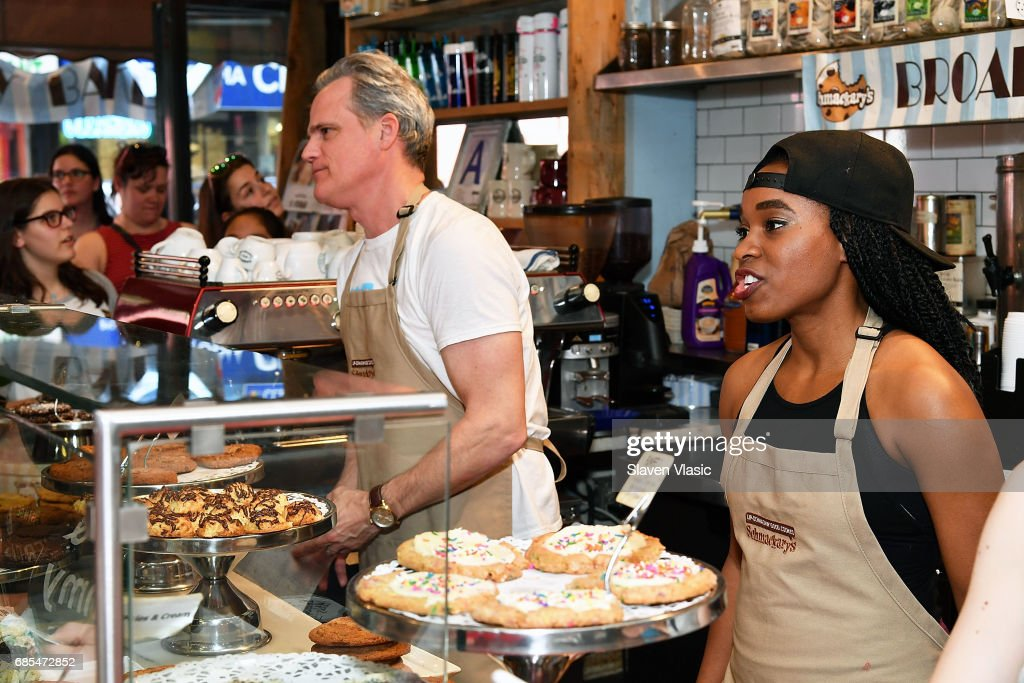Actors Michael Park and Kristolyn Lloyd from 'Dear Evan Hansen' attend 5th Annual Broadway Bakes event benefiting Broadway Cares/Equity Fights AIDS at Schmackery's Bakery on May 19, 2017 in New York City.
