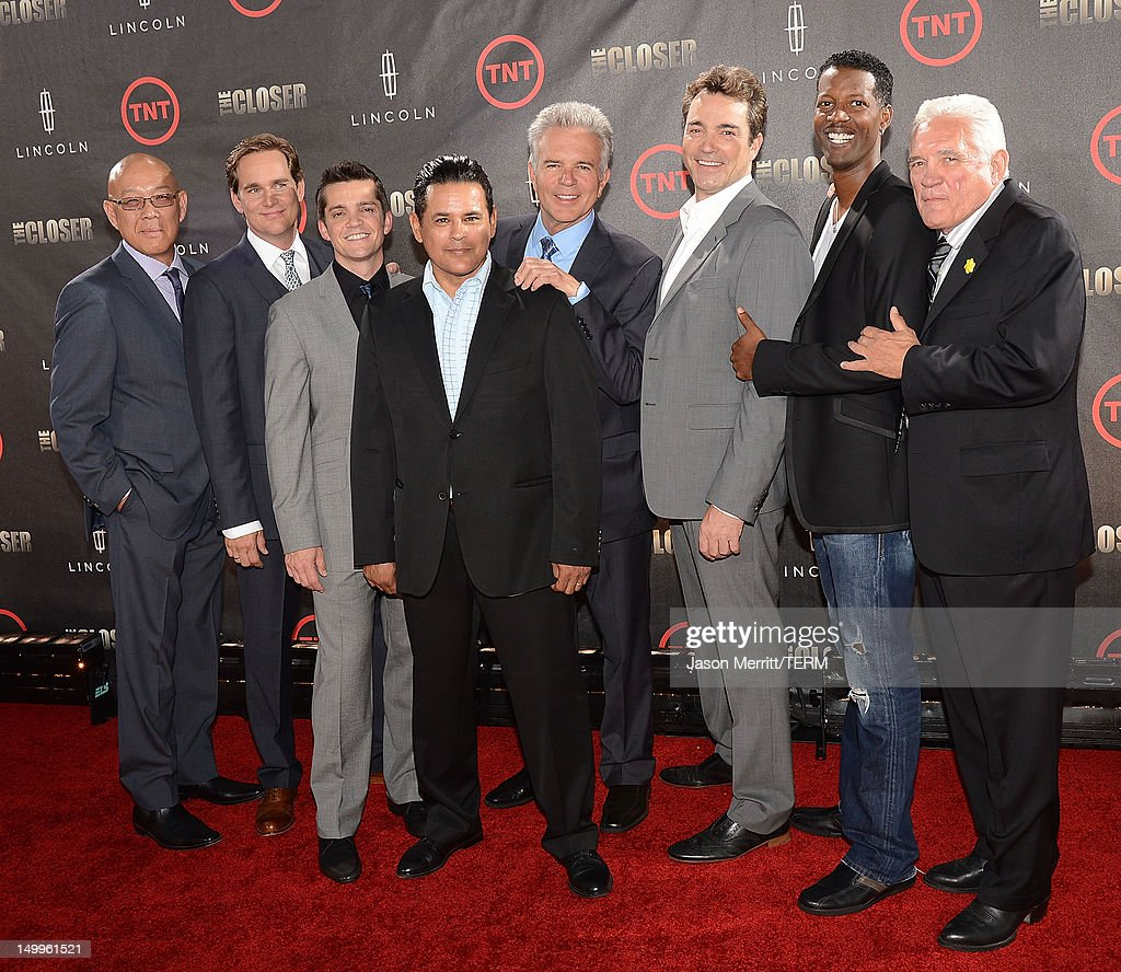 Actors Michael Paul Chan, Phillip P. Keene, Jonathan Del Arco, Raymond Cruz, Anthony John Denison, <a gi-track='captionPersonalityLinkClicked' href=/galleries/search?phrase=Jon+Tenney&family=editorial&specificpeople=745587 ng-click='$event.stopPropagation()'>Jon Tenney</a>, Corey Reynolds, and G.W. Bailey attend the special fan screening of TNT's 'The Closer' series finale held at The Roosevelt Hotel on August 7, 2012 in Hollywood, California.