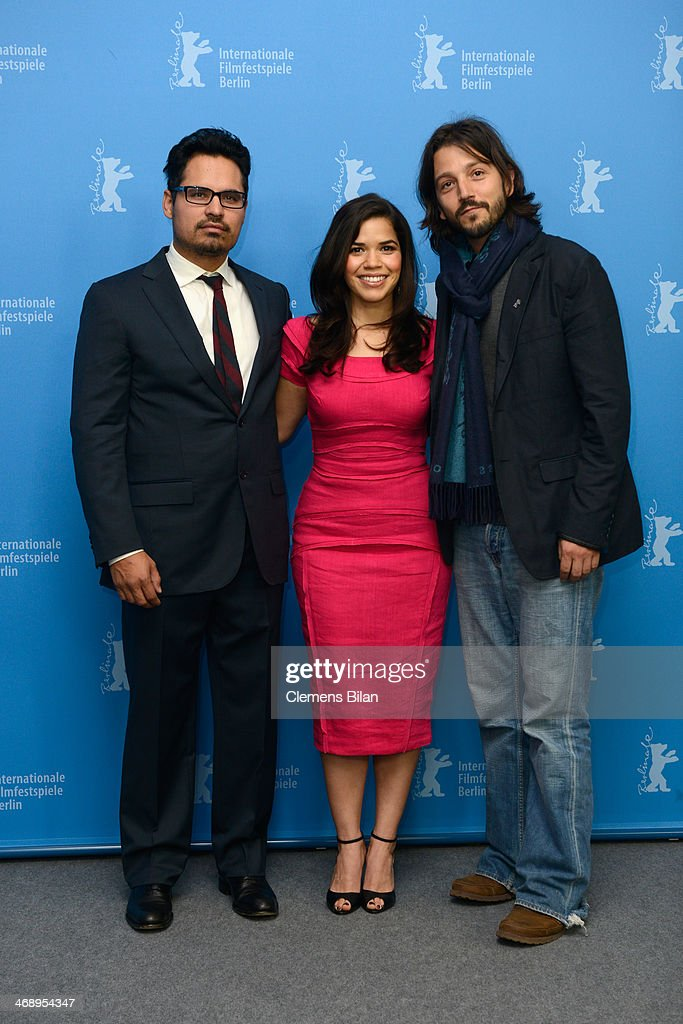 Actors Michael Pena and <a gi-track='captionPersonalityLinkClicked' href=/galleries/search?phrase=America+Ferrera&family=editorial&specificpeople=216393 ng-click='$event.stopPropagation()'>America Ferrera</a> and director <a gi-track='captionPersonalityLinkClicked' href=/galleries/search?phrase=Diego+Luna&family=editorial&specificpeople=213511 ng-click='$event.stopPropagation()'>Diego Luna</a> attend the 'Cesar Chavez' photocall during 64th Berlinale International Film Festival at Grand Hyatt Hotel on February 12, 2014 in Berlin, Germany.