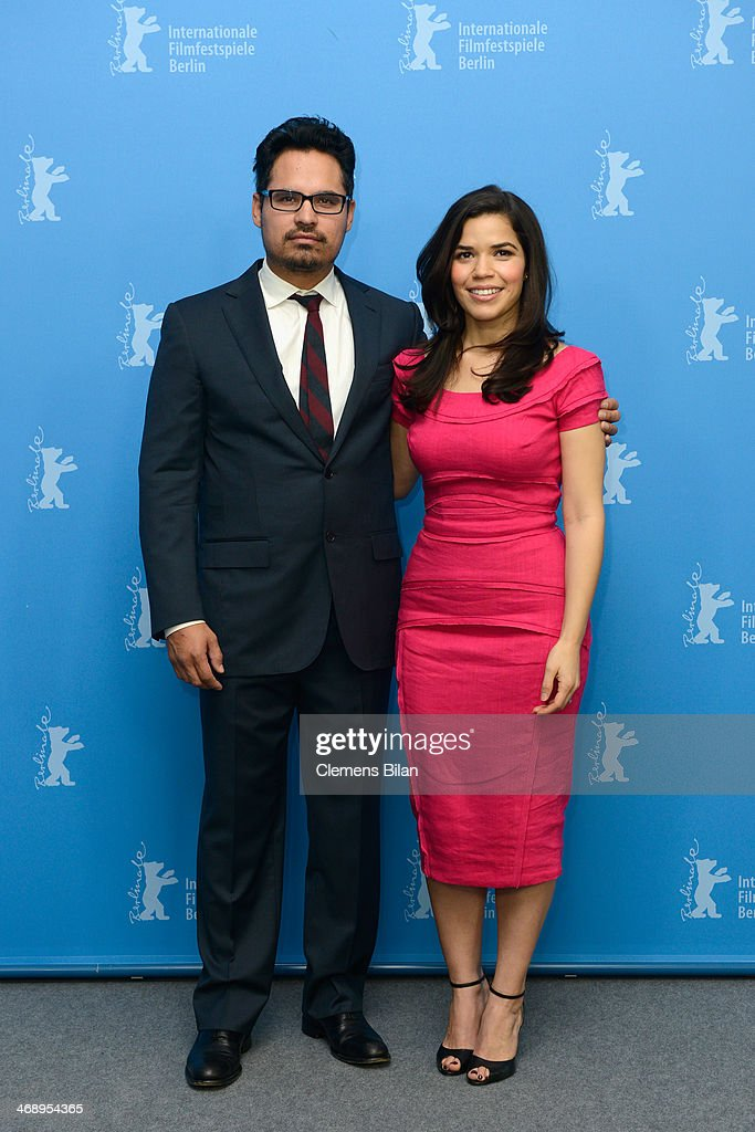 Actors Michael Pena and <a gi-track='captionPersonalityLinkClicked' href=/galleries/search?phrase=America+Ferrera&family=editorial&specificpeople=216393 ng-click='$event.stopPropagation()'>America Ferrera</a> attend the 'Cesar Chavez' photocall during 64th Berlinale International Film Festival at Grand Hyatt Hotel on February 12, 2014 in Berlin, Germany.