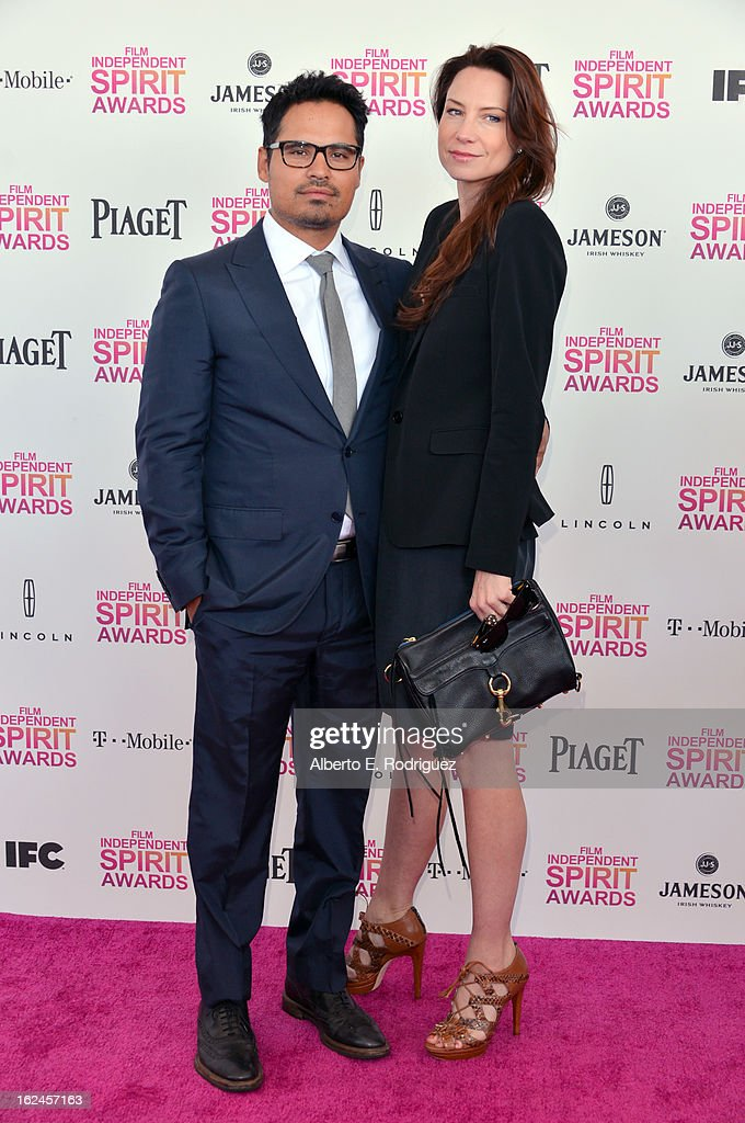 Actors Michael Pena and Brie Shaffer attend the 2013 Film Independent Spirit Awards at Santa Monica Beach on February 23 2013 in Santa Monica...