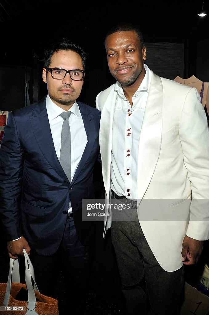 Actors Michael Pena (L) and <a gi-track='captionPersonalityLinkClicked' href=/galleries/search?phrase=Chris+Tucker&family=editorial&specificpeople=203254 ng-click='$event.stopPropagation()'>Chris Tucker</a> attend the On3 Official Presenter Gift Lounge during the 2013 Film Independent Spirit Awards at Santa Monica Beach on February 23, 2013 in Santa Monica, California.