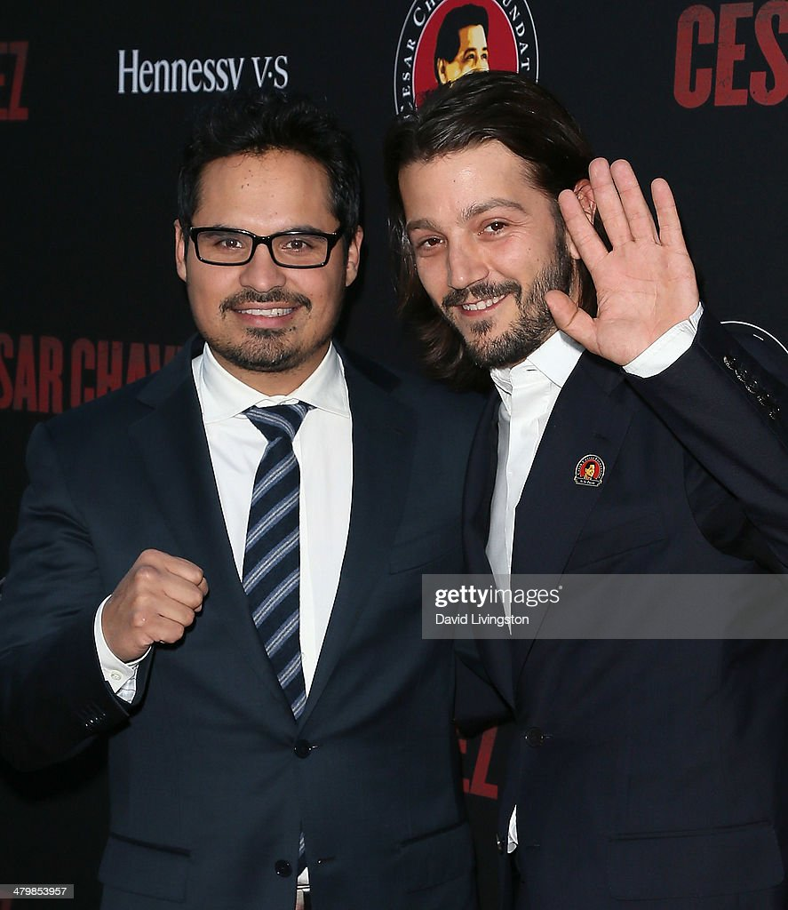 Actors Michael Pena (L) and <a gi-track='captionPersonalityLinkClicked' href=/galleries/search?phrase=Diego+Luna&family=editorial&specificpeople=213511 ng-click='$event.stopPropagation()'>Diego Luna</a> attend the premiere of Pantelion Films and Participant Media's 'Cesar Chavez' at TCL Chinese Theatre on March 20, 2014 in Hollywood, California.