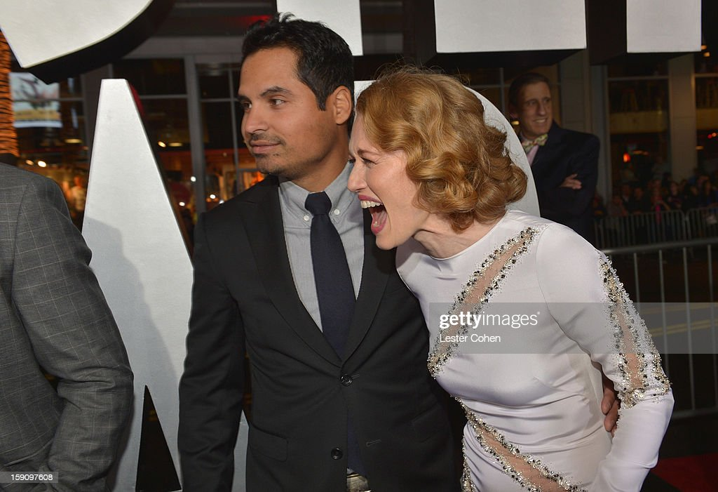 Actors Michael Pena and Mireille Enos arrive at the 'Gangster Squad' premiere at Grauman's Chinese Theatre on January 7, 2013 in Hollywood, California.