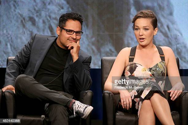 Actors Michael Pena and Virginia Kull speak onstage at the 'Gracepoint' panel during the FOX Network portion of the 2014 Summer Television Critics...