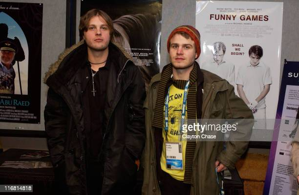 Actors Michael Pitt and Brady Corbet attend a screening of 'Funny Games' at the Egyptian Theatre during the 2008 Sundance Film Festival on January 23...