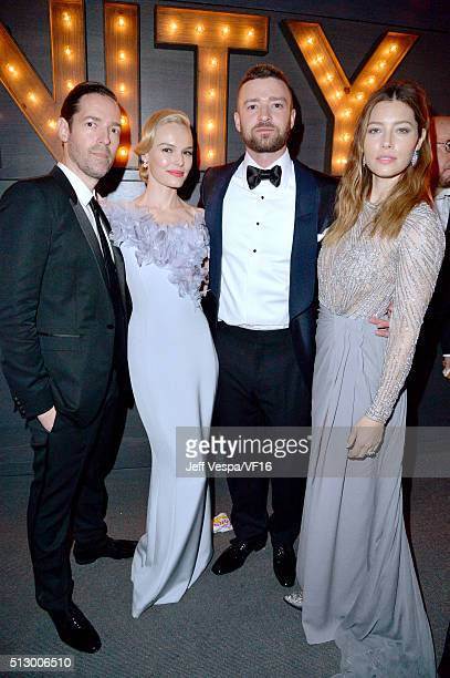 Actors Michael Polish Kate Bosworth recording artist Justin Timberlake and actress Jessica Biel attend the 2016 Vanity Fair Oscar Party Hosted By...