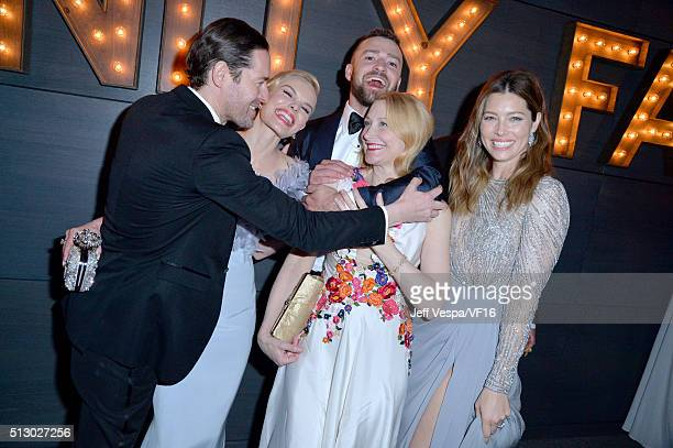 Actors Michael Polish Kate Bosworth recording artist Justin Timberlake actresses Patricia Clarkson and Jessica Biel attend the 2016 Vanity Fair Oscar...