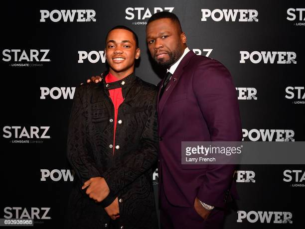 Actors Michael Rainey Jr and Curtis '50 Cent' Jackson attend the STARZ Original series 'Power' Season Four Premiere at The Newseum on June 8 2017 in...