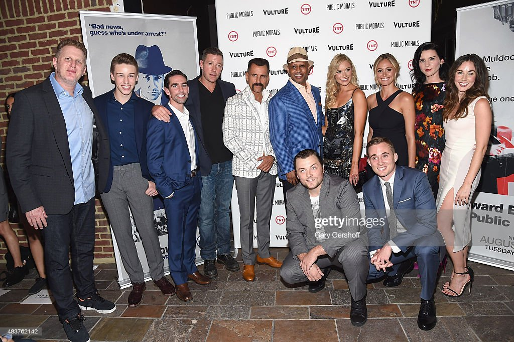 Actors Michael Rapaport, Cormac Cullinane, Keith Nobbs Edward Burns, Wass Stevens, Ruben Santiago-Hudson, Katrina Bowden, Elizabeth Masucci, Michelle Hicks and Lyndon Smith, and kneeling, Patrick Murney (L) and Brian Wiles attend the 'Public Morals' New York Screening at Tribeca Grand Screening Room on August 12, 2015 in New York City.