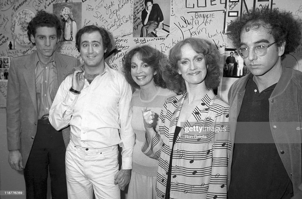 Actors Michael Richards and <a gi-track='captionPersonalityLinkClicked' href=/galleries/search?phrase=Andy+Kaufman&family=editorial&specificpeople=587929 ng-click='$event.stopPropagation()'>Andy Kaufman</a>, actresses Melanie Chartoff and Brandis Kemp and writer <a gi-track='captionPersonalityLinkClicked' href=/galleries/search?phrase=Larry+David&family=editorial&specificpeople=125184 ng-click='$event.stopPropagation()'>Larry David</a> attend the Taping of 'Fridays' on February 20, 1981 at ABC Television Studios in Hollywood, California.