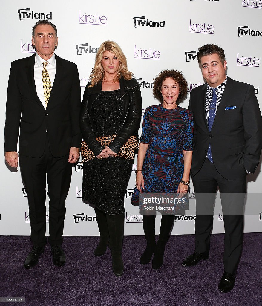 Actors Michael Richards, <a gi-track='captionPersonalityLinkClicked' href=/galleries/search?phrase=Kirstie+Alley&family=editorial&specificpeople=206297 ng-click='$event.stopPropagation()'>Kirstie Alley</a>, <a gi-track='captionPersonalityLinkClicked' href=/galleries/search?phrase=Rhea+Perlman&family=editorial&specificpeople=215378 ng-click='$event.stopPropagation()'>Rhea Perlman</a> and Eric Petersen attend the 'Kirstie' premiere party at Harlow on December 3, 2013 in New York City.