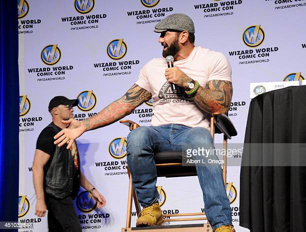 Actors Michael Rooke and Dave Bautista onstage at Wizard World Philadelphia Comic Con 2014 Day 3 held at Pennsylvania Convention Center on June 21...