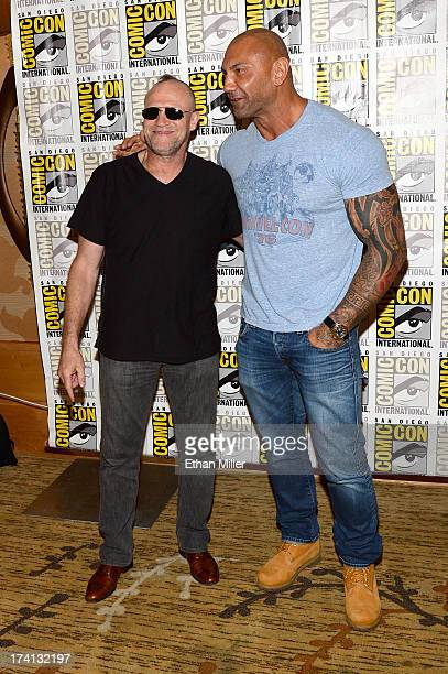 Actors Michael Rooker and Dave Bautista attend Marvel's 'Guardians of The Galaxy' press line during ComicCon International 2013 at the Hilton San...