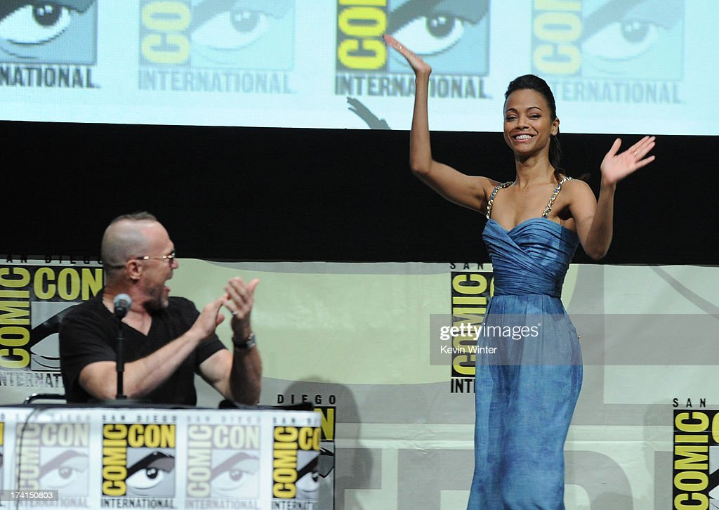 Actors Michael Rooker (L) and Zoe Saldana speak onstage at Marvel Studios 'Guardians of the Galaxy' during Comic-Con International 2013 at San Diego Convention Center on July 20, 2013 in San Diego, California.