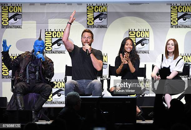 Actors Michael Rooker Chris Pratt Zoe Saldana and Karen Gillan attend the Marvel Studios presentation during ComicCon International 2016 at San Diego...